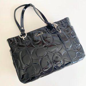 Coach Signature Black Patent Leather Tote